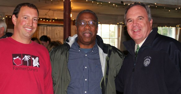Farmer Dave Dumaresq, Massachusetts Commissioner of Agriculture Greg Watson and City Manager Bernie Lynch