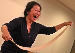 Theresa Park, of Lowell, uses her noodle.