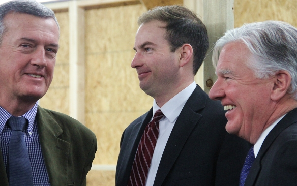 State Rep. Kevin Murphy, Mayor Patrick Murphy and Chancellor Marty Meehan.