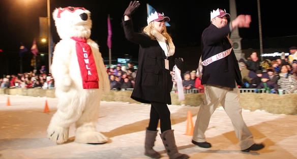 Lowla Bear with the King and Queen of Winterfest -- Adam and Danielle McFadden.