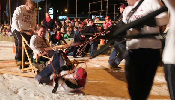 There were a lot of spills and thrills in the Human Dogsled races.