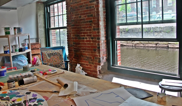 The artists' workshop at Appleton Mills, a communal workspace for use by the residents.