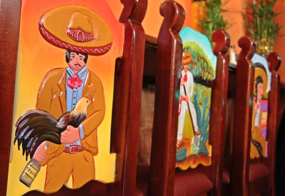 All of the chairs and tables are hand-carved in Mexico.